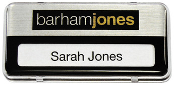 Reusable plastic name badges - Clear border and brushed silver / black background | www.namebadgesinternational.ae